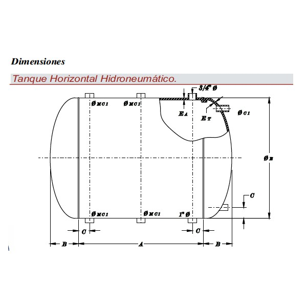 Tanque horizontal para hidroneum tico grupo almont for Tanque hidroneumatico