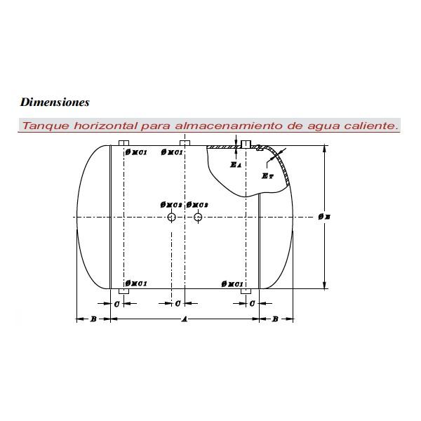 Tanque horizontal para almacenamiento de agua caliente for Tanque hidroneumatico para agua